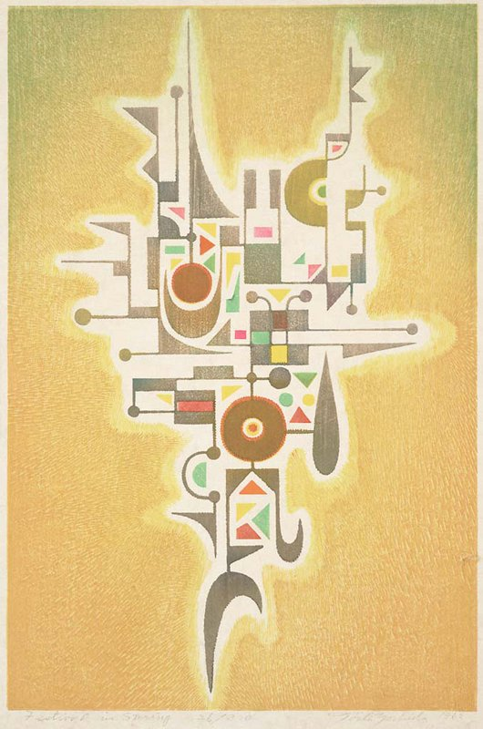 abstract image; biomorphic and geometric form in black with brightly colored geometric elements; yellow-green radiating background; shin hanga (fūkei-ga)
