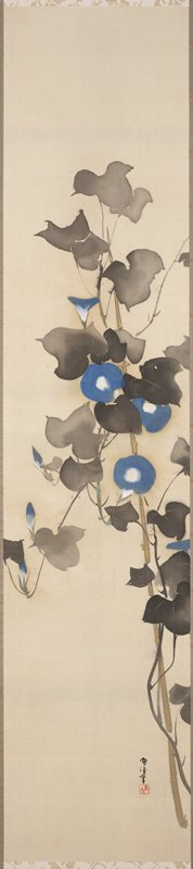 blue morning glory blossoms within gray foliage climbing thin bamboo pole at R; gold details