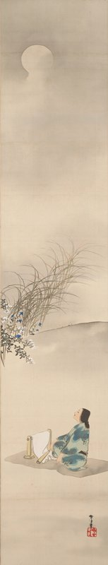 young female weaver wearing green and blue kimono sits on a grey mat with white weaving in front of her, gazing upward at moon in ULQ; a subtle slope extends horizontally across image at center with reeds, and blue flowers at center of L edge