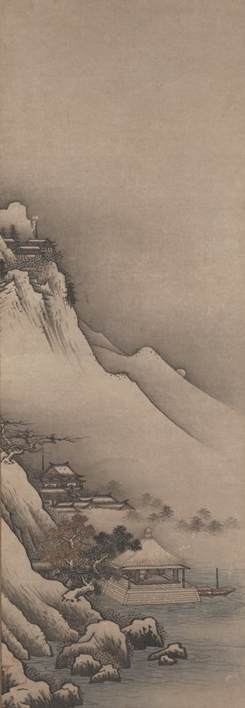 mountain and water landscape with temple complexes; large cliffs and boulders rise out of water at LL; small, open structure with pointed thatched roof juts into water; room has tatami floor and is filled with pots; a small boat floats to the R of structure; gnarled, dense trees grow from rocks LLC; temple complex rises out of fog and treetops in middle ground; large, sweeping mountain with temple complex at top at UL; small moon rising center R