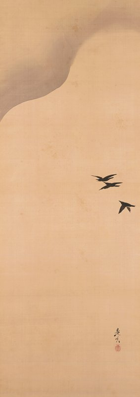 three black birds fly at R edge against a neutral background; curving line with grey background ULQ