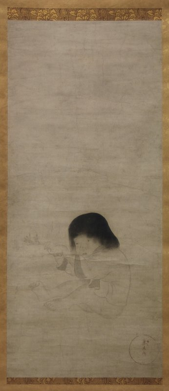 3/4 view of a small child sitting on ground with legs bent; child is fixated with a blossoming branch held between hands; short robe, shoulder-length black hair