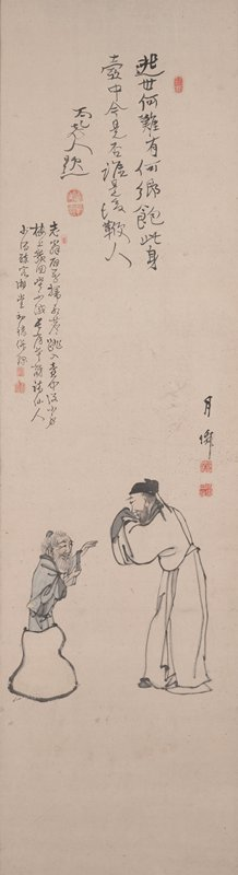 standing man in profile at right, with his hands held beneath his sleeves in front of his face; man wears white kimono and black cap and has short dark hair and beard; tiny figure of old bearded man emerging from a gourd-shaped sack or jug at left; old man wears a blue kimono trimmed in grey; three inscriptions at top, with seven red seals