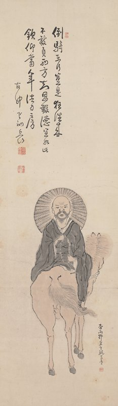 monk wearing black robe, holding rosary in both hands rides backwards on a horse; large, halo-like woven hat behind head; PR leg folded across horse with PL leg hanging off side of horse; monk has mostly bald head with dark beard, large earlobes, and determined look on face; horse is turned away at 3/4 view; inscription ULQ; short inscription LRQ