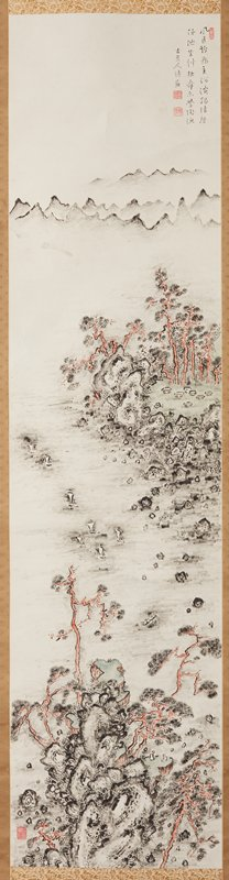 irregular grouping of rocks at bottom center with red tree trunks and two figures seated facing each other on a flat clearing; small fleet of sailboats and a fishing boat in water at center; island with rocky shore, a few huts, and red tree trunks at R; mountains in distance