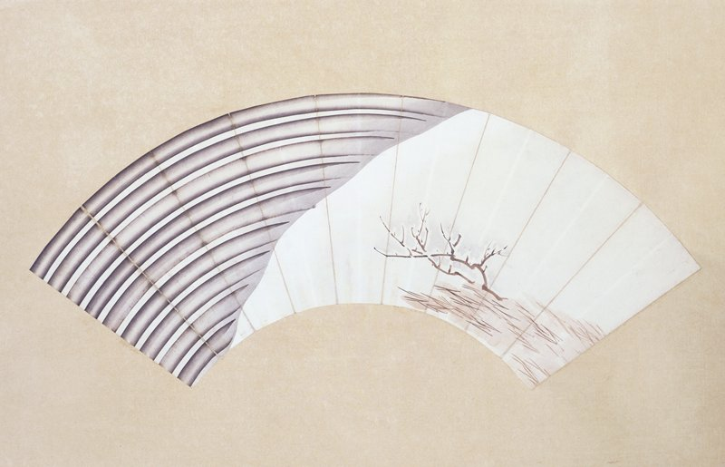 mounted fan painting: mostly white background with snow-covered barren brown bush at R; diagonal gray background at L with parallel, curved gray lines