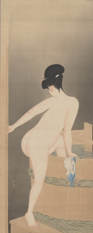 rear 3/4 view of a woman climbing into bath in a large barrel; clutches a light blue cloth at the rim of the barrel in PR hand
