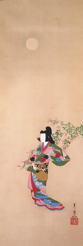 young woman in casual, elegant pose wearing colorful, richly patterned kimono; kimono has several crests with swirling motif; holding gold fan in PR hand near waist; PL arm outstretched; standing in front of small branch with pink blossoms under the moon