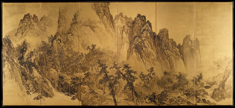 black wash of mountain scene on gold leaf background; waterfall at bottom of panels 1 and 2 with white water highlights; figure carrying bundle on back at bottom of panel 3; some small buildings at bottom of panels 4 and 5