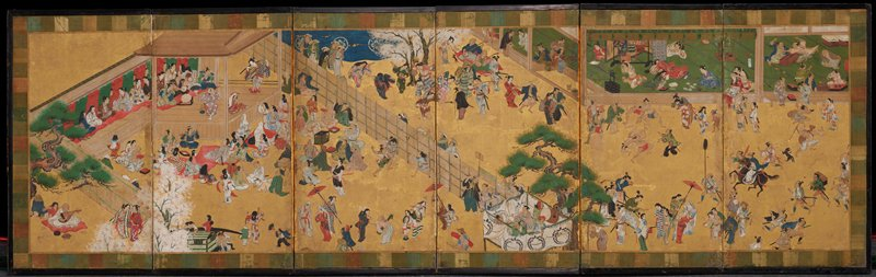lively street scene featuring a female kabuki performance at L; motely crowd of men, women, and children on street, some watching the performance, others flirting, walking, dancing, wrestling, etc.; in background, men and women lounge in tea shop
