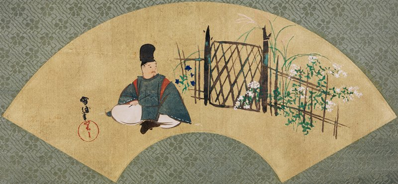 mounted fan painting: seated man holding long, thin object in PR hand looking over PL shoulder toward garden gate; blue, white, and pink flowers grow along gate and fence