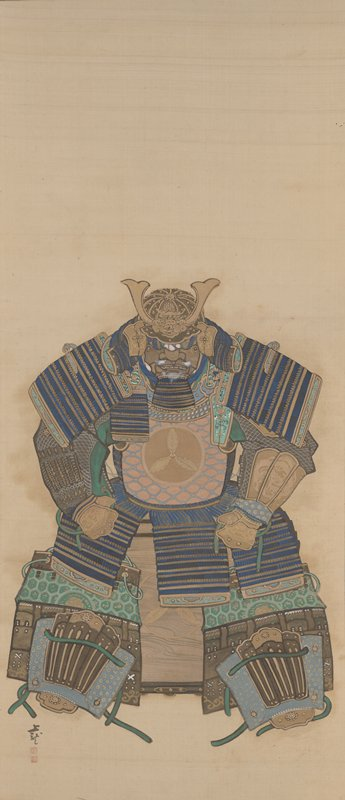 suit of armor in crouching position seated on box; head lowered, arms spread with hands on thighs; blue and gold motif on pads; breastplate in gold with raised gold crest of three leaves