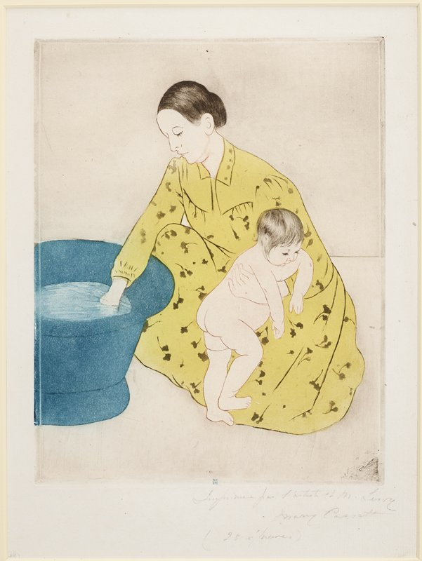 squatting woman in a long yellow dress with her proper right hand in blue tub, holding a standing nude baby leaning against her proper left arm