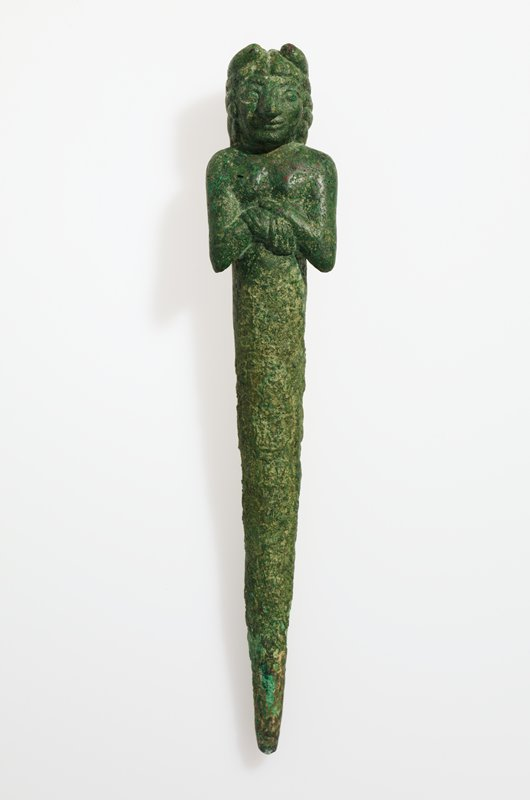 Foundation Figure; head and upper torso of male figure with clasped hands; copper with green patina;