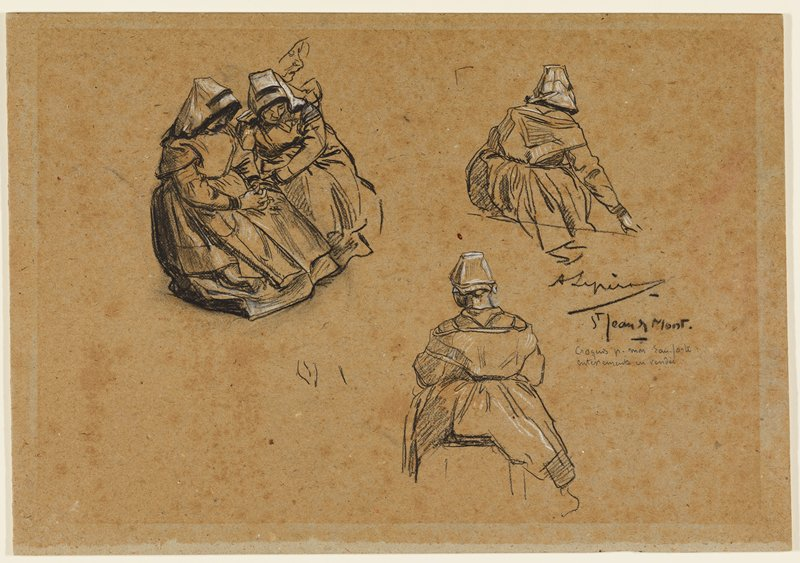 two seated women seen from back, wearing long dresses and head kerchiefs, URQ and LRQ; two women seated next to each other wearing similar clothing, ULQ--woman at left has her hands folded; sketch of a woman's face in profile above shoulder of woman on right in ULQ