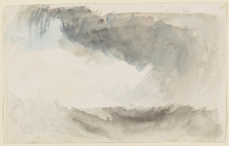 abstracted image of clouds, rain and waves, with washes of grey and blue