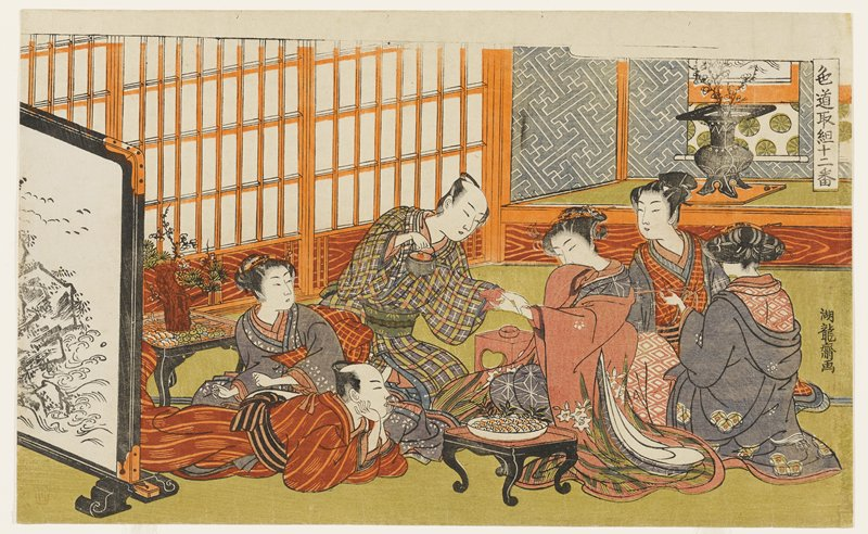three women seated at right wearing brightly-colored kimono; two men and one woman at left; one of the men is lying on his stomach; plate of food on low table in foreground; man in plaid kimono pours tea into pink teabowl held by woman wearing pink kimono with white flowers; large floor screen, LLC; black vase with blossoming branches, URC