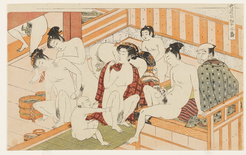 nine figures--male and female, of different ages--in a public bath; all are nude except for man at right with scruffy beard, wearing blue-grey kimono with black and white I-shaped patterns; woman at center has a red plaid garment around her shoulders; woman at left receiving a back massage from a man while holding his penis; young man next to man in kimono has erection