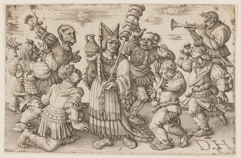 ghoulish-looking figures; six male dancers wearing bells on bracelets and anklets; man playing a horn in URC; wrinkled woman at center with two goiters holding a staff with sausages in her PL hand and a small jug in her PR hand