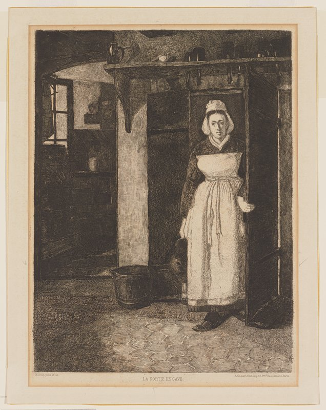woman wearing white apron and cap, holding jug in her PR hand, emerging from a doorway; tub to left of doorway on floor; shelf above doorway with bottles and tankard; arched doorway into another room at left