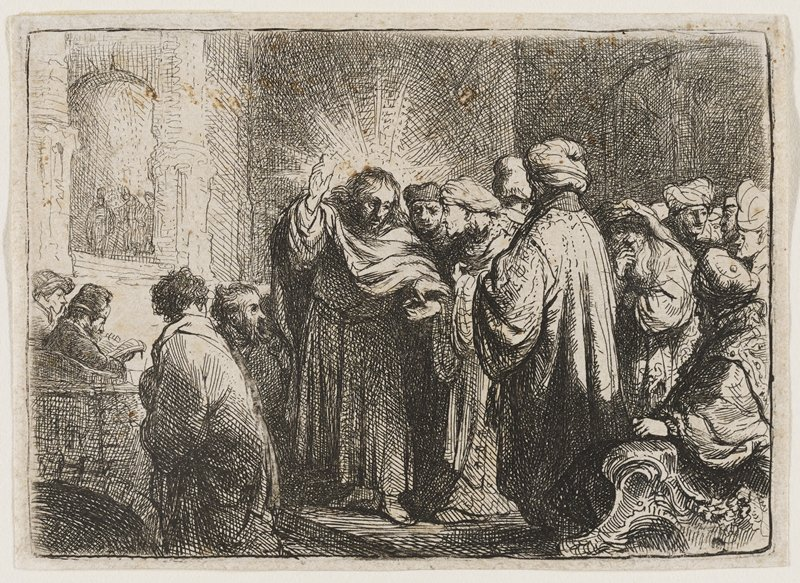 man at center with his PR hand up and a lighter coloring around his head; a group of men gathered around him in an interior space; matted and in frame with four other prints
