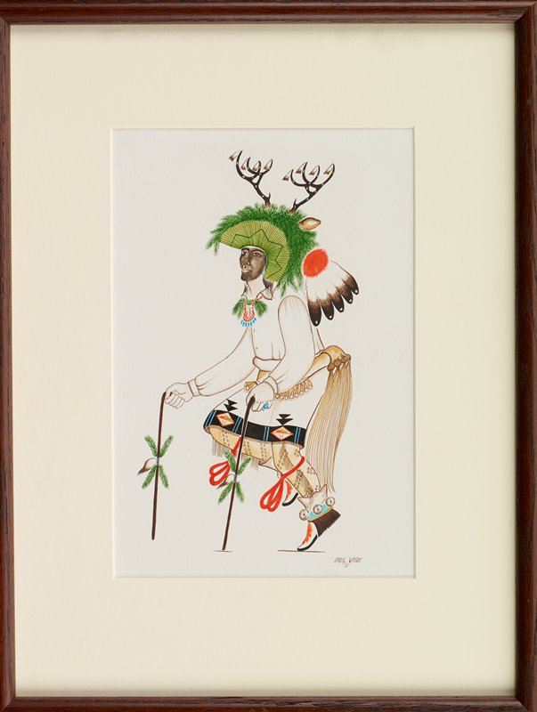 dancing man holding a cane in each hand, decorated with foliage and feathers; man wears a predominately green headdress with heathers at back, foliage on top of head, and a pair of antlers; man also wears skirt with black and blue patterned hem trim, with orange, red and green design, yellow leggings with brown spots and fringe and white, blue, yellow and orange moccasins with bells around the ankles