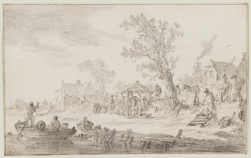 two figures--one standing, rowing--in a small boat, LLC; figure walking down steps to riverbank in LRC; figures with a horse standing under a small open roofed structure at center, with one tall tree to right; another horse to right of tree; several buildings