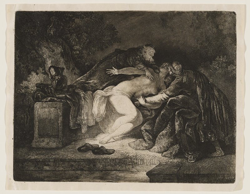 nude woman at center, collapsed between two male figures; older man at L, with beard, reaches over woman, with his hand near PR breast; male at R appears to be struggling to support the woman; the figures are between trees on a raised stone platform