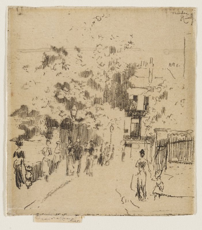 sketchlike scene of scattered people walking along a sidewalk; shaded trees at L; old buildings in background; fence LRQ