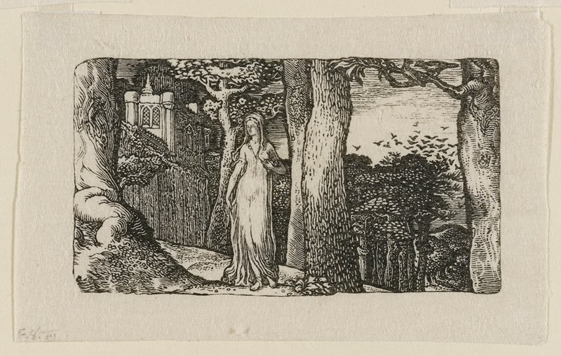 female figure in sheer, loose dress standing amid trees near center; in background at L is a portion of a castle or church with wall; a flock of birds flying towards a treetop at R