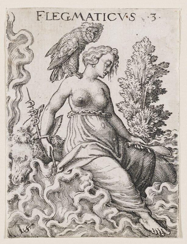 woman seated on cloud or roots, with large bird on PL shoulder; woman holds mirror in PL hand and a spike with horseshoes in PR