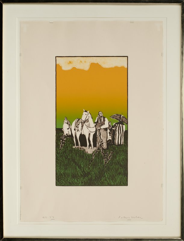 stylized image of figures and horse in a barren landscape with green and black grass and sky fading from light green to orange at top, with mottled orange and white area at top of image; front most figure is a standing man at right center with horse at left center; single figure wearing white garment at left; group of figures at right--one holding a grey umbrella