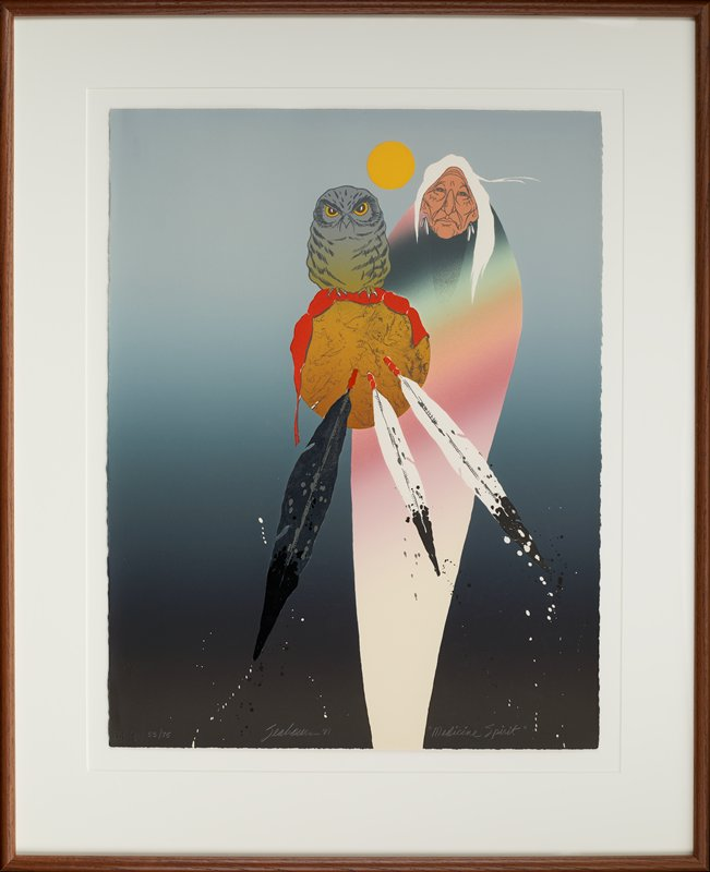 abstracted image; standing elderly woman with white hair and long white earrings, wearing a stylized blanket of multicolors shading into each other--white, pink, orange, green, blue, purple; owl perched on a round element (shield?) with three feathers--two are white a black, one is silver and black, with spots of black and white extending from feather tips; grey shaded background