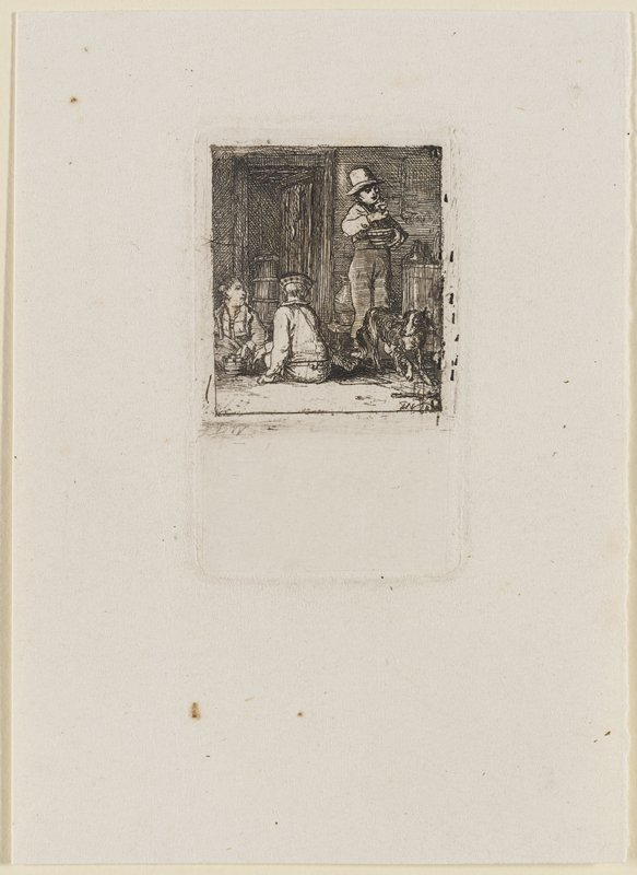 child at R standing proudly, holding a glass in his PL hand; two boys seated on floor at LL, looking towards standing boy; dog near LRC; interior of a dark room