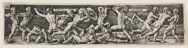 nude figures fighting with spears, clubs, and shields at L and C; two men dragging female figure to boat at R
