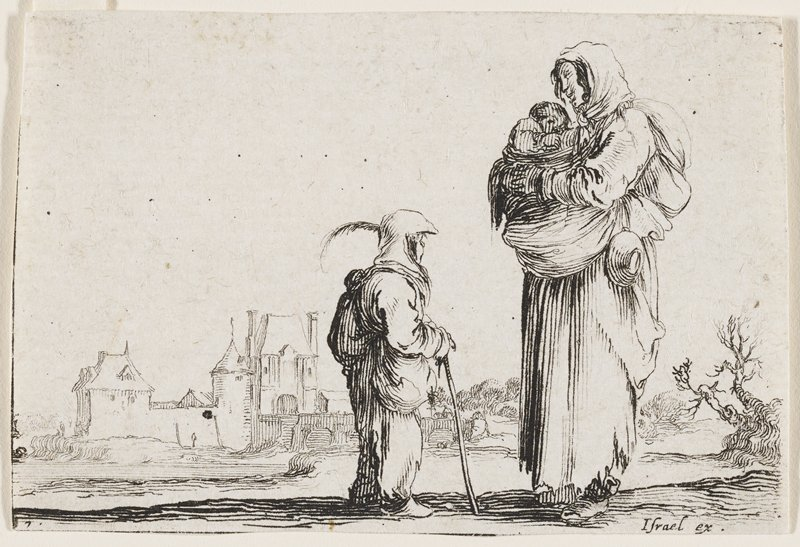 female figure at R in tattered dress carrying a baby in a bundle; cup or pan hanging from her belt at L; shorter figure also in rags standing and facing the woman, leaning on cane; stone building in background