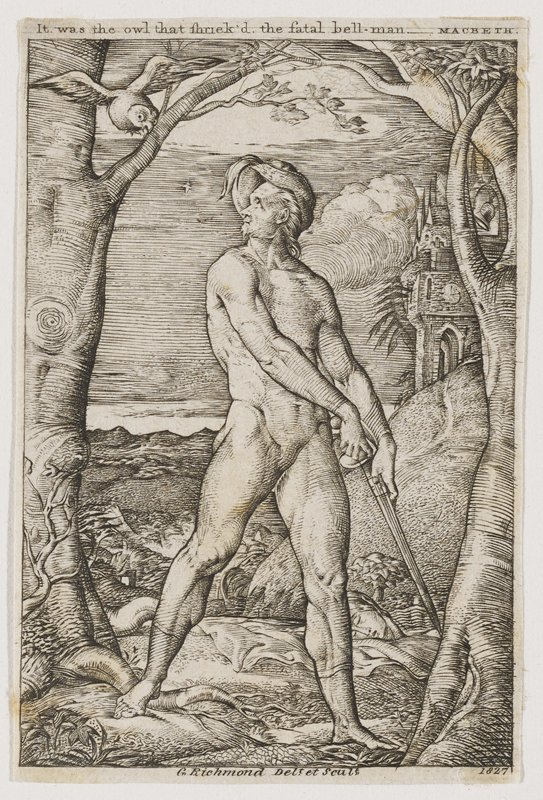 male figure holding a sword down with both hands and looking behind him, up at an owl flying near a tree; disembodied head near PR foot; image is framed by a tree on either side