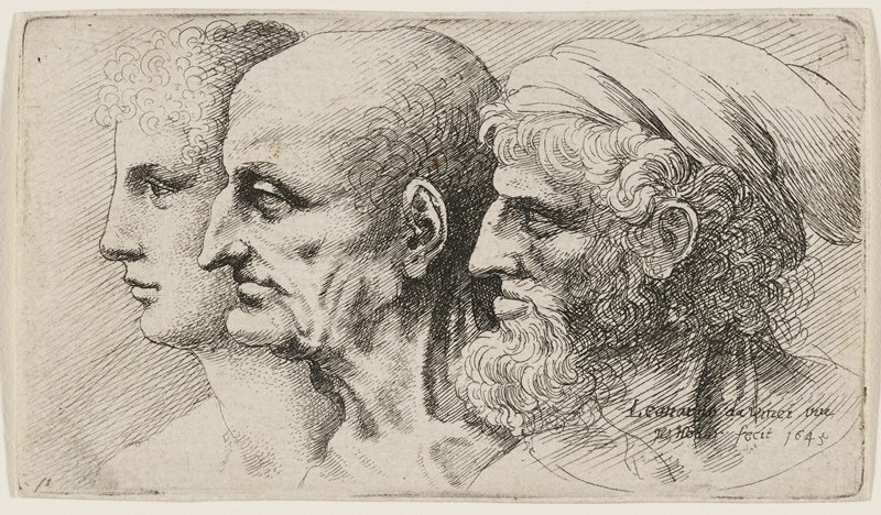 profile of three men all facing L: man at far L is the youngest, with light curly hair; center man is bald with sagging, wrinkled face and beak nose; man at R is oldest, with bushy white beard and hair; wears white hat