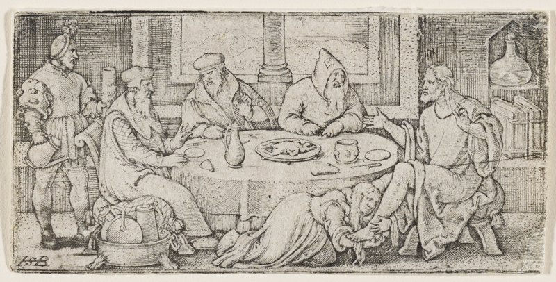 lighter rendition: Christ seated on R side of round table with bread and wine; three men conversing with Christ at the same table; a man enters the scene at far L carrying a pitcher; woman at bottom embraces Christ's ankle