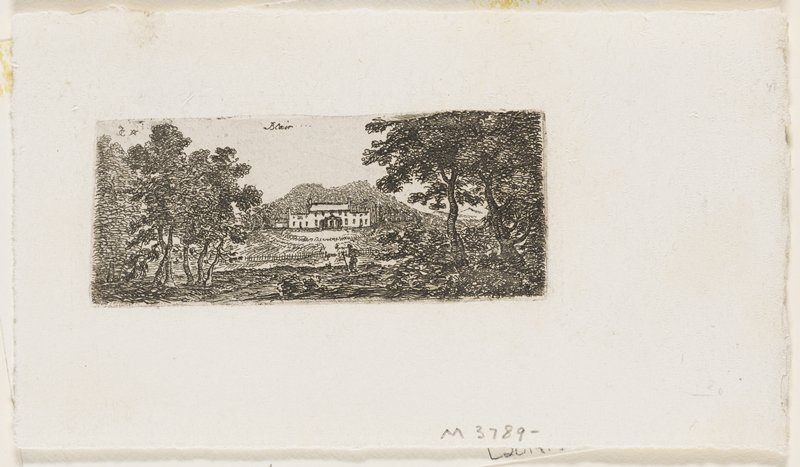 stately white building near center of image; small figure with staff near gate around estate; trees at L and R of image; heavy foliage around fence and estate