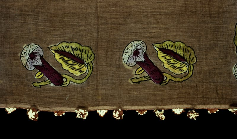Gauzy, thin fabric; brown ground with 12 block printed flower and leaf designs around edges; trimmed with brown tatted border and brown and tan tatted 3-dimentional flowers