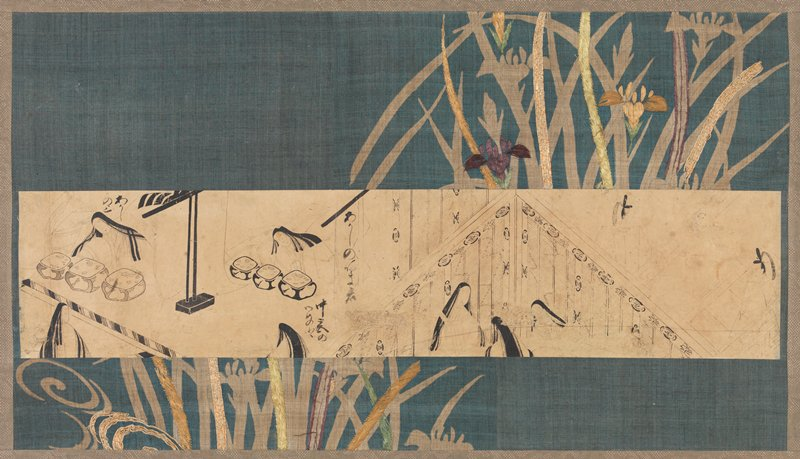 unsigned; strip of paper featuring images from the Tale of Genji; two women seated behind low tables at L with two other figures outside the room facing them; three female figures within a room L of C; two men outside the room at R