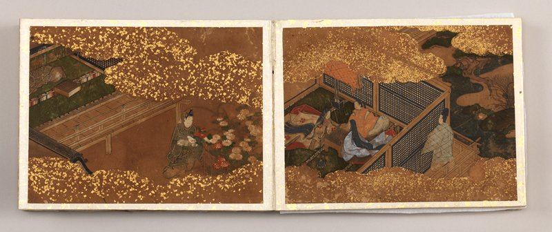 collection of twenty images from the Tale of Genji painted in full color; primarily images of men and women inside small tatami rooms overlooking verandahs and small courtyards; clouds colored with gold leaf obscure trees and rivers