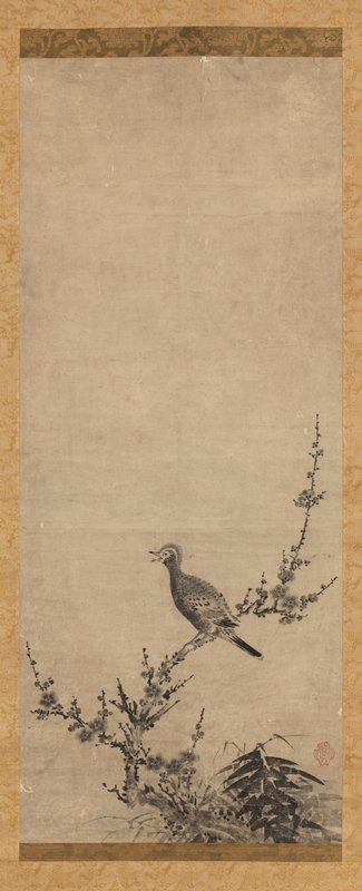 small crested bird perched with beak open, facing L on a crooked blossoming branch; cluster of bamboo to R of branch on bottom