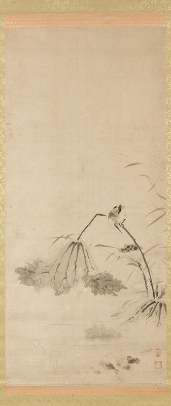small bird perched on a bent lotus stem, looking down at fish swimming below; other lotus blossoms, leaves, and grasses at R