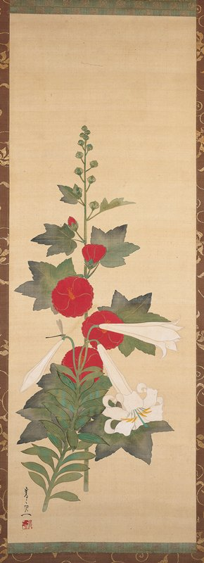 red hollyhock at center, with several buds at top; white lily with two buds and one full blossom lower portion of scroll in front of hollyhock