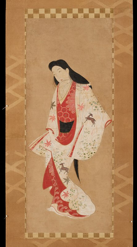 unsigned; female figure with long, flowing hair; white outer kimono with autumn motifs of deer, chrysanthemums, pampas grass, bush clover, and maple leaves; a design of waves on the red kimono peeking through