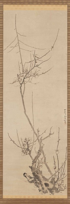 cluster of branches and a gnarled tree trunk lower, with thin twigs and fat blossoms; long branch cuts up diagonally across image, with thin twigs and fat blossoms; small bird perched LL