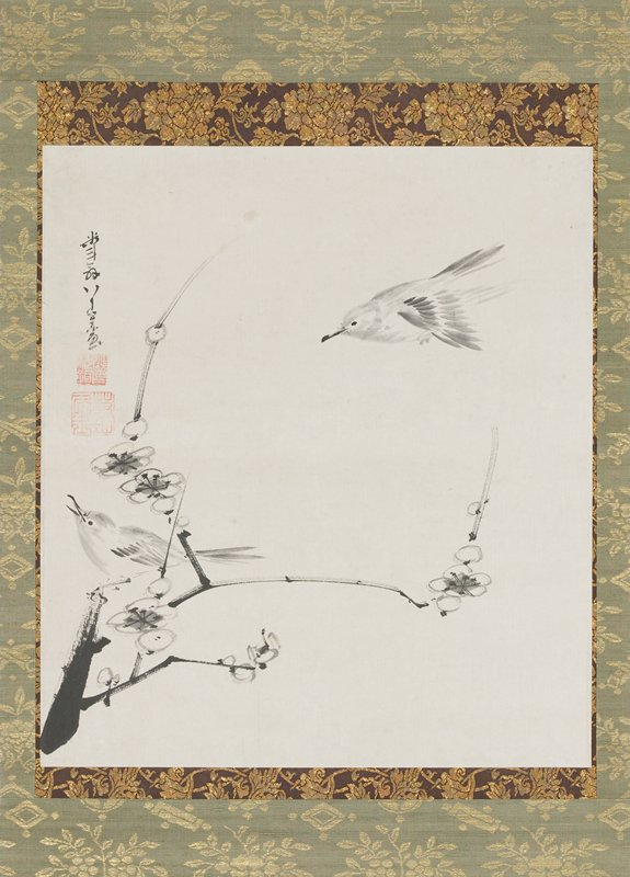 sparrow perched at L on delicate blossoming branch; another sparrow flying, about to land at R