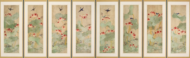 eight panel screen; lotus leaves with pink blossoms and foliage in pond; blue and black birds perched on or hovering around blossoms; each panel has unique image